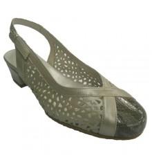 Zapatos punta cerrada talon abierto rejilla Roldán en metalizado