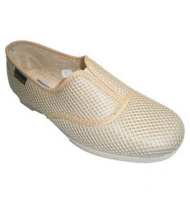 Zapatillas rejilla goma en empeine ancha Alberola en beig