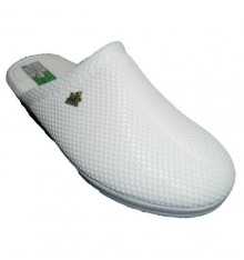 Clogs grid lining cotton towel Alberola in white