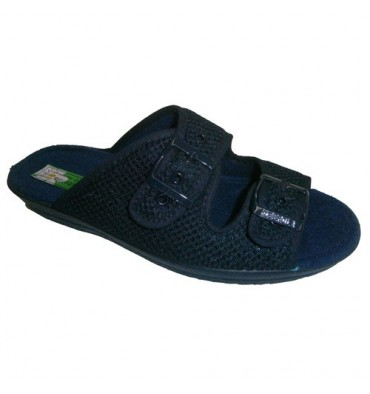 Thongs grid buckles to fit the foot Alberola in navy blue