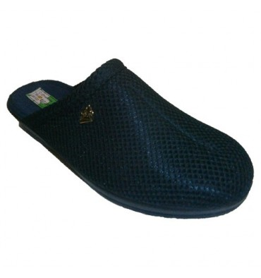 Clogs grid lining cotton towel Alberola in navy blue