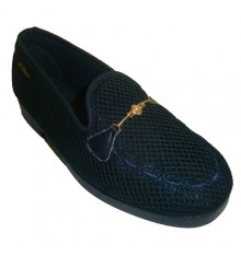 Slippers closed ornamental grille chain Alberola in navy blue