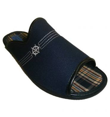 Open toe thong cotton towel lining ytalon Alberola in navy blue