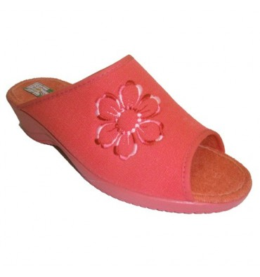 Sandals open toe high heel wedge and cotton lining Alberola in salmon