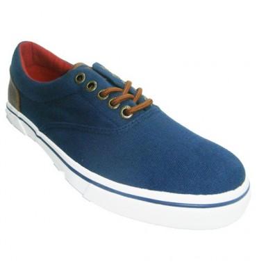 Zapatillas cordones lona sport con detalles en cuero en el talón Gioseppo en azul marino