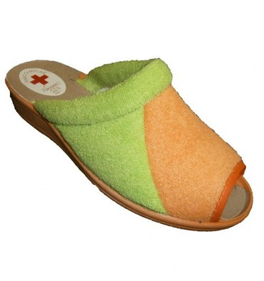 Combined open toe thong towel green orange Nevada in green