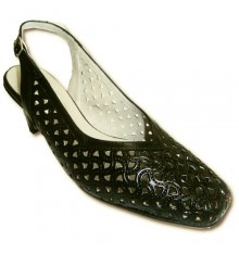 Open back shoes black openwork wide Pomares Vazquez in black