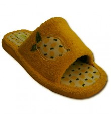 Flip Flops embroidered towel with lemon open toe Andinas in yellow