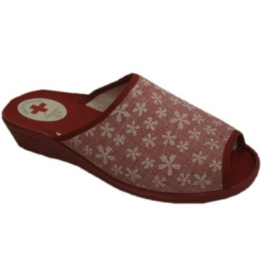 Sandals open toe and heel stamped flowers Nevada in red