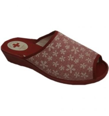 Sandálias de dedo aberto e calcanhar carimbado Nevada flores vermelhas
