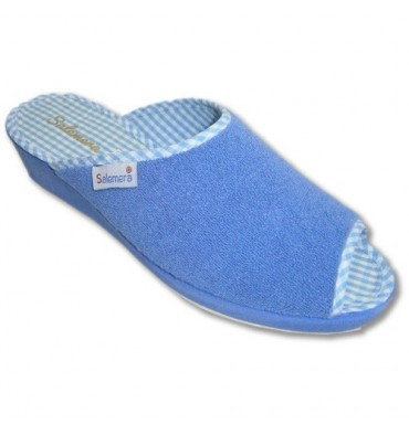 Thongs finger towel house and bare heel lining and flowers vichy Salemera in blue