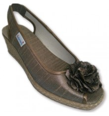 Satin Slipper hemp wedge open toe and heel rubber bow ornament ago Salemera in light brown