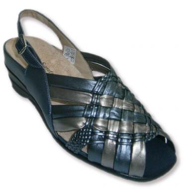 Sandalia trenzada dos colores abierta punta y talón muy cómodas para plantillas ortopédicas Pie Santo en azul marino