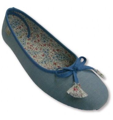 Canvas Ballet flats with bow with floral pattern on the lining and drawstring tips Muro in heavenly