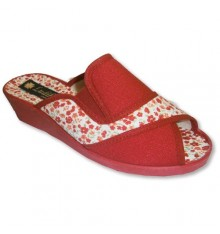 High Wedge Sandals open toe, elastic heel on one side Ludiher in red
