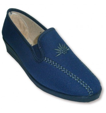 Closed with rubber slippers in high wedge sides Ludiher in navy blue