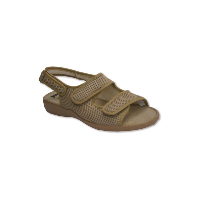 Zapatillas abierta punta y talón con broche de dos tiras de velcro en el empeine y otro atrás Calzamur en beig talla 36 2gtZQBR