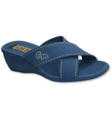 Thongs two crossed strips with high wedge Calzamur in blue