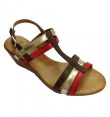 Wedge Sandals strips various colors very soft ground Rodri in multicolored