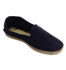 Hemp sandals herringbone fabric and rubber sole below Made in Spain in navy blue