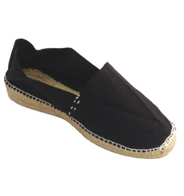 Esparto espadrille low wedge Made in Spain in black