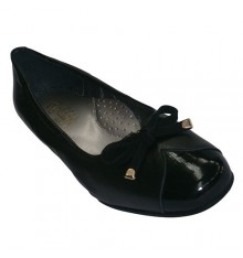 Manoletinas combined type shoes in leather and patent Roldán in black
