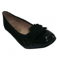 Shoes with wedge type crocodile patent leather ballet flats Roldán in black