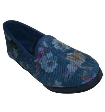 Zapatatillas corduroy printed with closed wedge Salemera in blue
