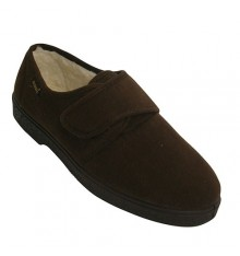 Suede shoes with velcro very comfortable sheepskin lining Salemera in brown