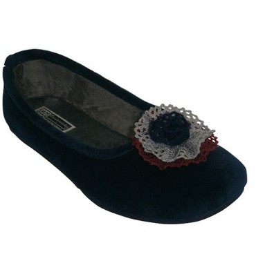 Manoletinade velvet with ornament above Gioseppo in navy blue