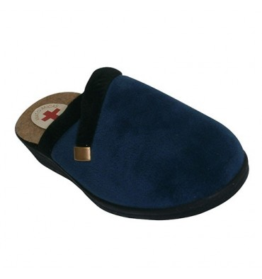 Guy with black suede thong edge with gold trim Nevada in navy blue