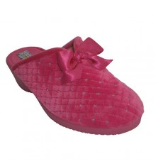 Open back with padded wedge shoes with satin bow Alberola in fuchsia