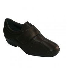 Shoes with Velcro elastic instep Manuel Almazan in dark Brown