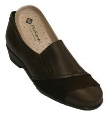 Zapato de piel combinado con ante para plantillas ortopédicas Pie Santo en marrón