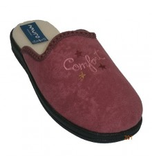 Flat flip flops lined with embroidered borriguito shovel Muro in pink