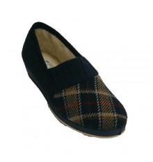 Shoe with wedge heel shovel pictures and smooth wool lining Soca in blue