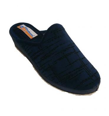 Zapatillas abiertas atrás con cuña con trazos en negro Soca en azul marino