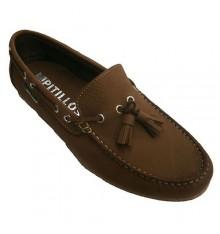 Zapato tipo mocasín con borlas de nobuk Pitillos en cuero