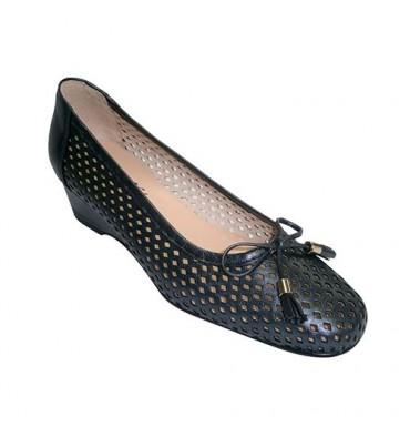 Shoe woman manoletinas puff type Wedge ornament loop Roldán in navy blue