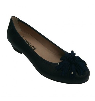 Manoletina woman medium heel with bow embellishment Pitillos in navy blue