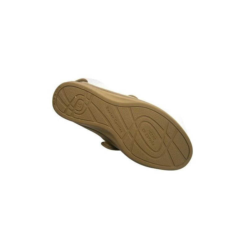 DOCTOR CUTILLAS Zapatilla Mujer Pies Muy Anchos con Velcro EN Talón y EN el Empeine EN Tostado Talla 35 QT59z