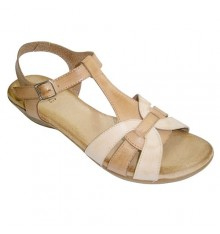 Sandals women combined two very soft skin colors plant Rodri in leather
