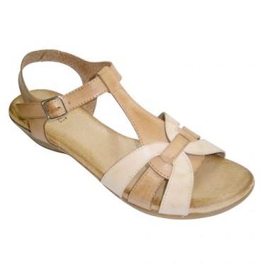 Sandalias mujer combinadas dos colores planta muy blanda de piel Rodri en cuero