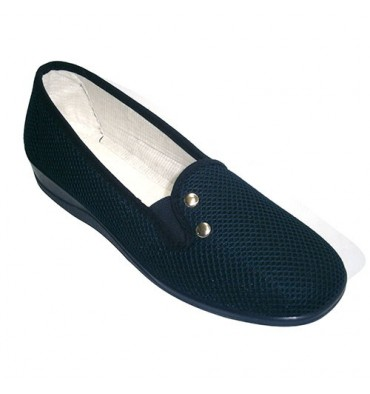 Closed grid fabric shoe woman with an ornament rubber side rivets Nevada in navy blue