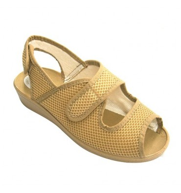 Mulher sapatos toe aberto e Velcro calcanhar Nevada em Beig