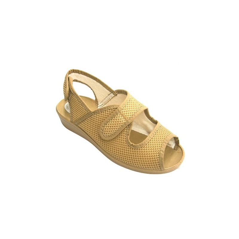 Shoe woman open toe and heel Velcro Nevada in beig model 214 0bcd1d4449