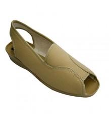 Slipper open toe and heel woman very wide Nevada in beig