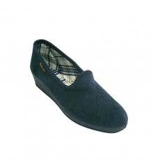 Classic corduroy slipper wedge Salemera in navy blue