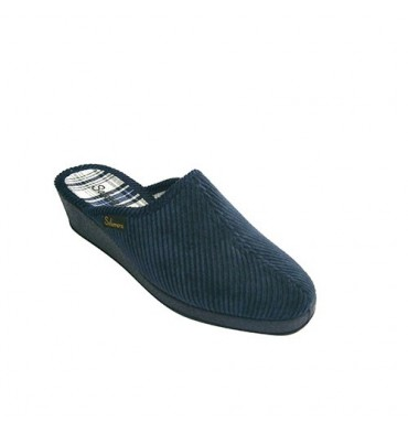 Classic thong slipper corduroy high wedge Salemera in navy blue