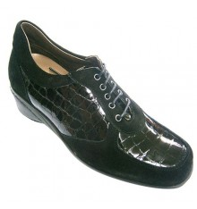 Shoe suede and patent leather women combined Roldán in black